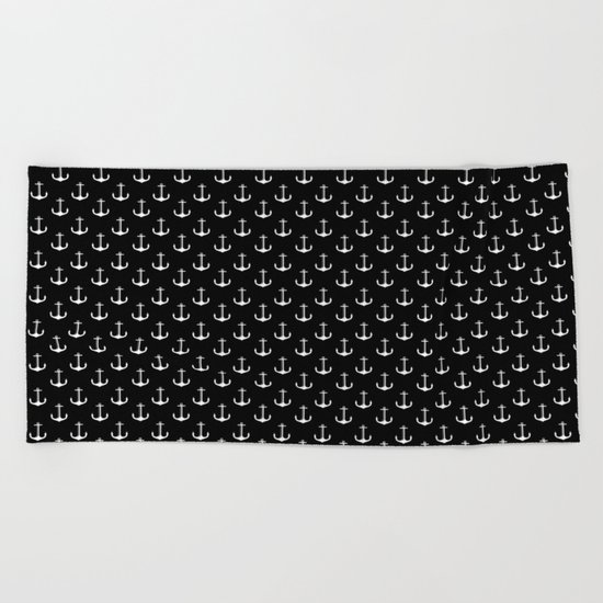 Black and white anchor pattern Beach Towel