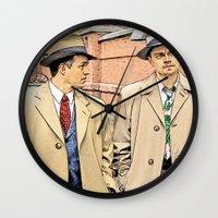 leonardo dicaprio Wall Clocks featuring Leonardo DiCaprio in Shutter Island - Colored Sketch Style by ElvisTR
