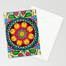 folk flowers collage Stationery Cards