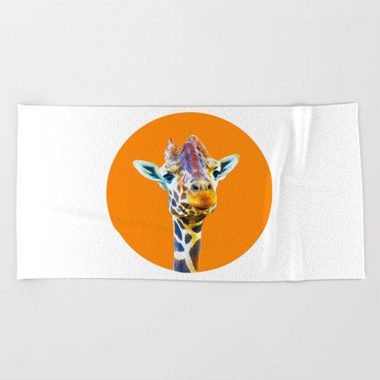 orange giraffe Beach Towel