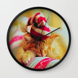 Kitty Christmas Wall Clock