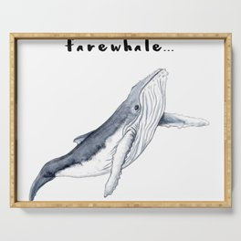 Farewhale Humour Whale Farewell Goobye design Serving Tray