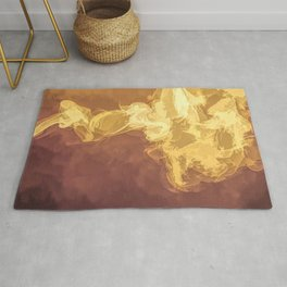 Abstract Smoke in yellow, orange and red Rug