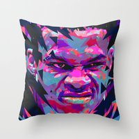 nba Throw Pillows featuring RUSSELL WESTBROOK: NBA ILLUSTRATION V2 by mergedvisible
