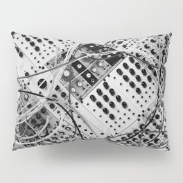 analog synthesizer  - diagonal black and white illustration Pillow Sham