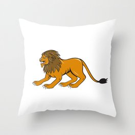 Angry Lion Crouching Side Cartoon Throw Pillow