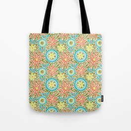 Birds and Flowers Mosaic - Green, orange, yellow Tote Bag