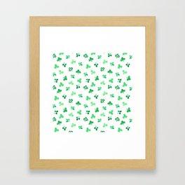 Clover Leaves on White Pattern Framed Art Print