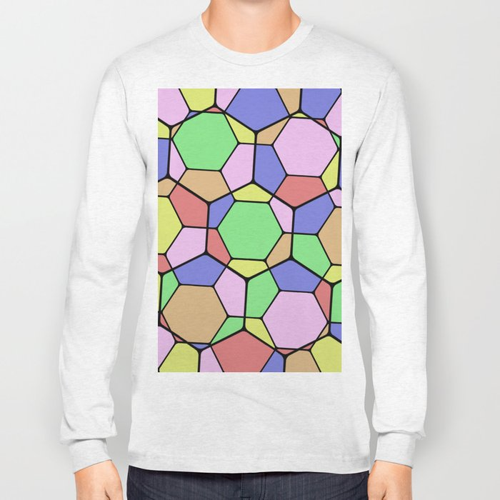 Stained Glass Tortoise Shell - Geometric, pastel, hexagon patterned artwork Long Sleeve T-shirt