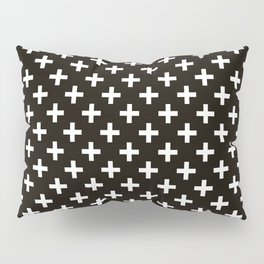 Criss Cross | Plus Sign | Black and White Pillow Sham