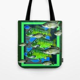 MODERN ART DECORATIVE GREEN FISH AQUATIC Tote Bag