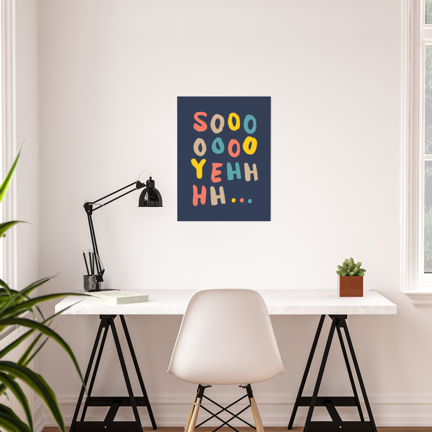 So Yeh pink blue and yellow graphic design typography poster bedroom wall  home decor Poster by themotivatedtype