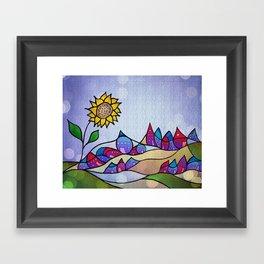 my little village and its sun -2- Framed Art Print