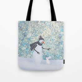 snowman and white rabbit Tote Bag