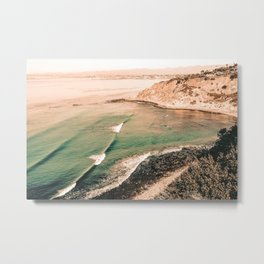 California Pacific Coast Highway // Vintage Waves Crashing on the Beach Teal Ocean Water Metal Print