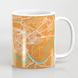 Preston, England, Gold, Blue, City, Map Coffee Mug