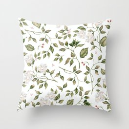 Pink And White Flower Garden Throw Pillow