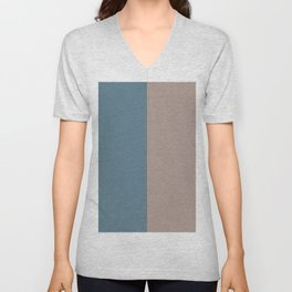 4 Bold Wide Lines Behr Blueprint Blue, Brown Velvet, Coffee with Cream, and Cameo Stone Unisex V-Neck