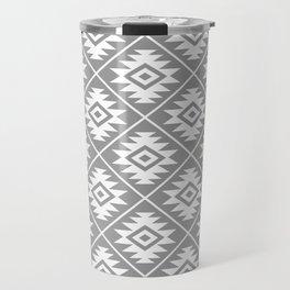 Aztec Symbol Pattern White on Gray Travel Mug