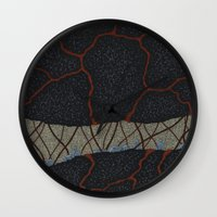 kaiju Wall Clocks featuring kaiju (cropped) by thefleafarm (Amy Wright)