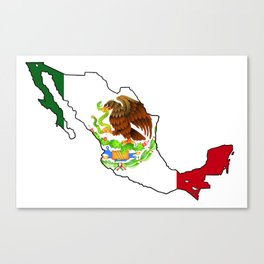 Mexico Map with Mexican Flag Canvas Print