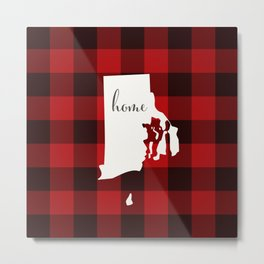 Rhode Island is Home - Buffalo Check Plaid Metal Print