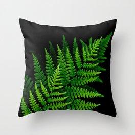 Fern Fronds on Black Throw Pillow