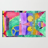 hippie Area & Throw Rugs featuring Hippie Owl by Mesterpieces
