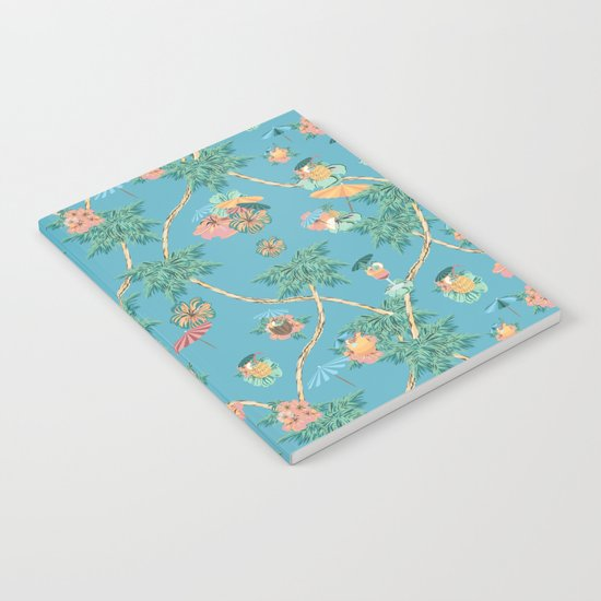 Tropical blue retro cocktail pattern by arrpdesign