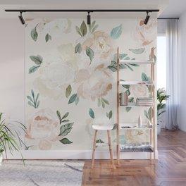 Vintage Blush Floral - softest pastel Wall Mural