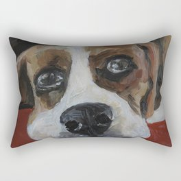 Picture, art work, oil painting, animal, dog, beagle Rectangular Pillow