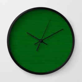 Emerald Green Brush Texture - Solid Color Wall Clock