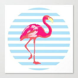 Flamingo, Summer Poster, blue stripes, rounded version Canvas Print