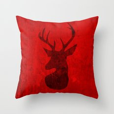 Red Deer Stag Design Throw Pillow