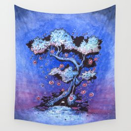 Ninja and the tree of lights Wall Tapestry