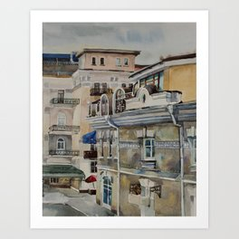 Old street in Yalta in grey rainy day Art Print