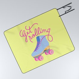 Get Rolling (Yellow Background) Picnic Blanket