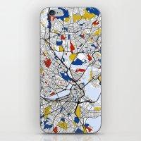 boston map iPhone & iPod Skins featuring Boston mondrian map by Mondrian Maps