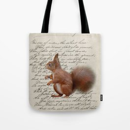 autumn fall seasonal shabby french scripts woodland animal squirrel Tote Bag