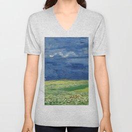 Vincent van Gogh - Wheatfield Under Thunderclouds Unisex V-Neck