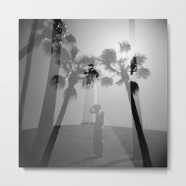 Lighthouse & Palm Trees Double Exposure Metal Print