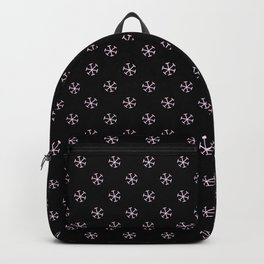 Pink Lace Pink on Black Snowflakes Backpack