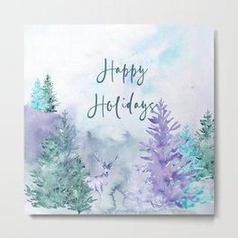 Watercolor Happy Holidays Winter Wonderland Metal Print
