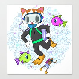 Scuba Diving Cat with Poop Snorkler Canvas Print