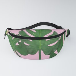 Green Monstera Plants In Pink  Fanny Pack