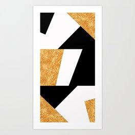 Corners in Black White Gold Art Print