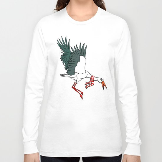 Crane Wearing A Scarf Long Sleeve T-shirt