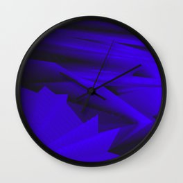 Psychedelic foil blue landscap with stylised mountains, sea and Sun. Wall Clock