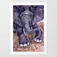 Une Mémoire d'Elephant (The Clever Elephant) Art Print