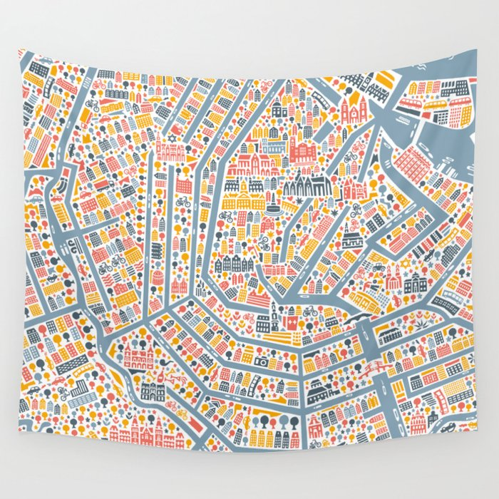 Amsterdam City Map Poster Wall Tapestry by vianina Society6